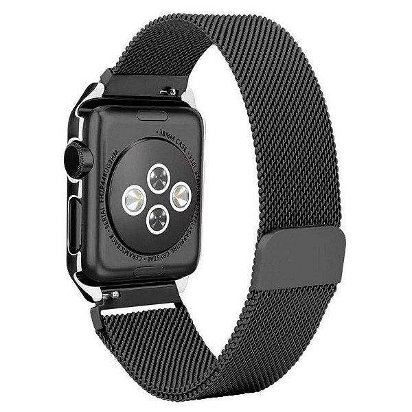 Pulseira Milanese Magnética Bumper Para Apple Watch 38mm - Preto