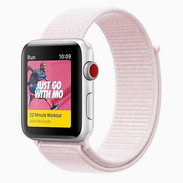 Pulseira Nylon Sport Loop Para Apple Watch 38mm - Rosa Claro