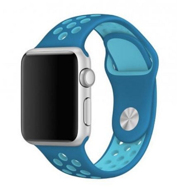 Pulseira Silicone Esportiva Para Apple Watch 38mm Azul Claro