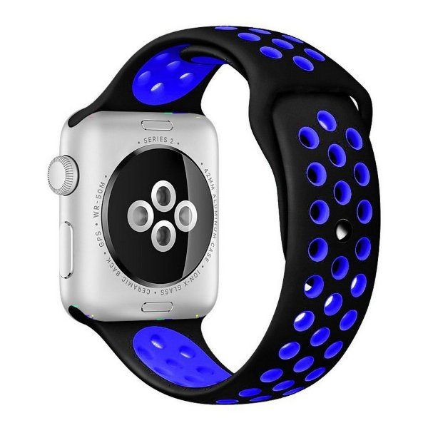 Pulseira Silicone Esportiva Para Apple Watch 42mm Preto/azul
