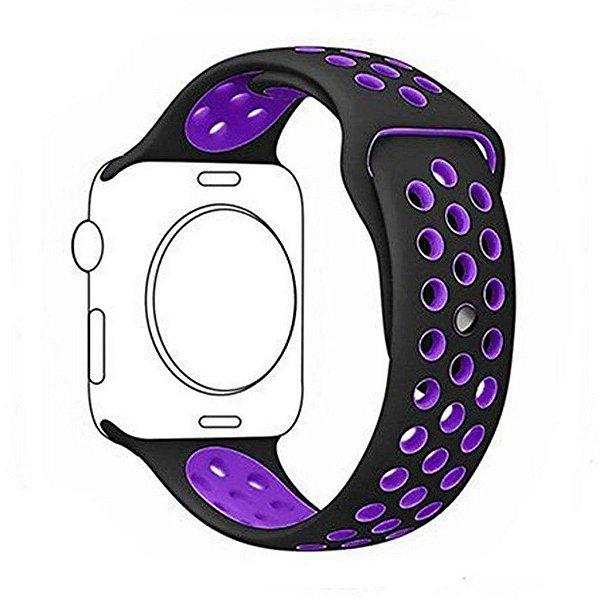 Pulseira Silicone Esportiva Para Apple Watch 42mm Preto/roxo