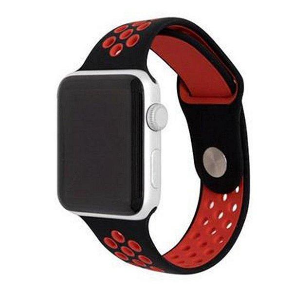 Pulseira Silicone Esportiva Para Apple Watch 42mm Preto/vermelho