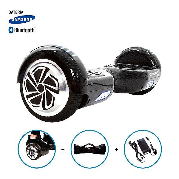 """Hoverboard 6,5"""" Estilo Fibra De Carbono HoverboardX Bateria Samsung e Bluetooth Smart Balance Com Bolsa"""