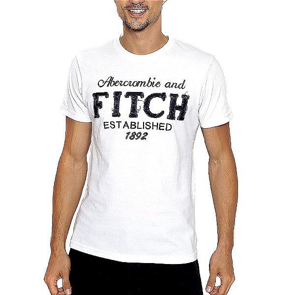 Camiseta Abercrombie Branco Estampada com Manga Curta