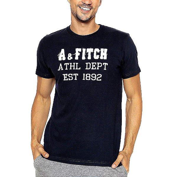 Camiseta Abercrombie Azul Marinho Estampada com Manga Curta