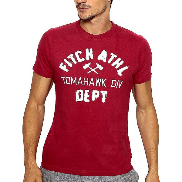 Camiseta Abercrombie Vinho Estampada com Manga Curta