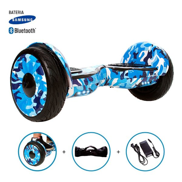 "Hoverboard 10"" Azul Militar HoverboardX Bateria Samsung Bluetooth Smart Balance Com Bolsa"