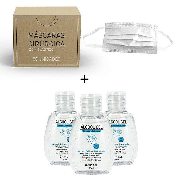 Kit 3 Álcool Gel Etílico Hidratado Higenizador De Mãos 70 INPM ArtGel 30 ml Com 50 Máscara Descartável Para Proteção