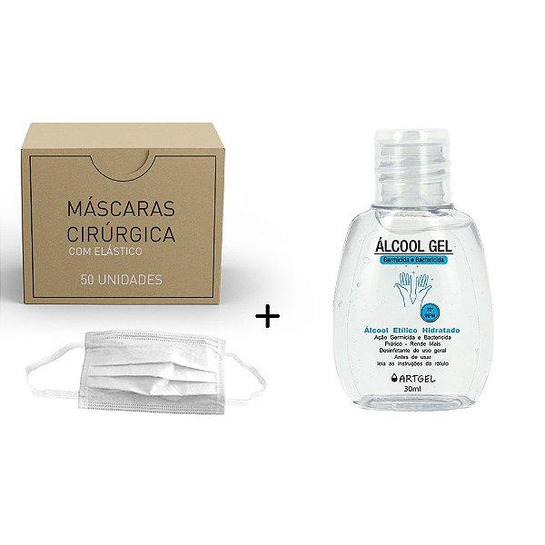 Kit 1 Álcool Gel Etílico Hidratado Higenizador De Mãos 70 INPM ArtGel 30 ml Com 50 Máscara Descartável Para Proteção