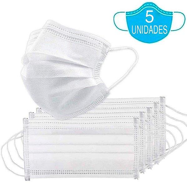 Kit 5 Máscara Descartável Importada MaskMedic Dupla Camada Qualidade E Confiabilidade Branca Com Clip Nasal