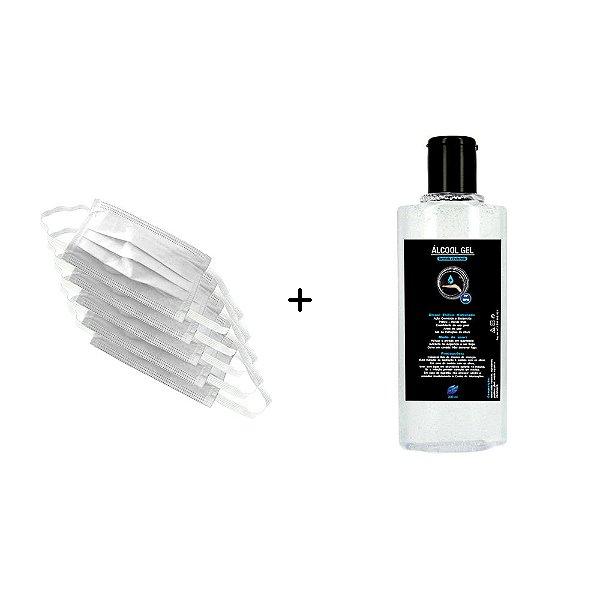 Kit 1 Álcool Gel Etílico Hidratado Higienizador De Mãos 70 INPM Vie Luxe 200 ml Com 5 Máscara Descartável Para Proteção