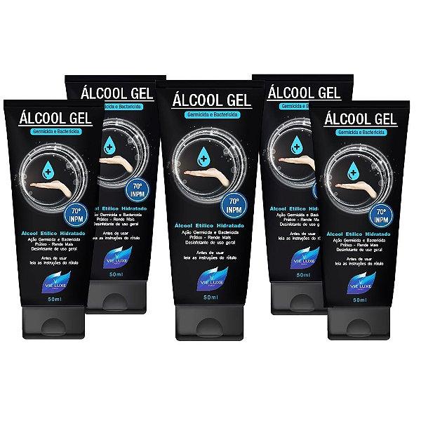 Kit Com 5 Álcool Em Gel 70 Inpm Para Limpar E Higienizar As Mãos 50ml Vie Luxe