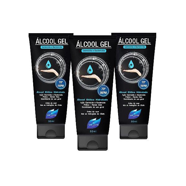 Kit Com 3 Álcool Em Gel 70 Inpm Para Limpar E Higienizar As Mãos 50ml Vie Luxe