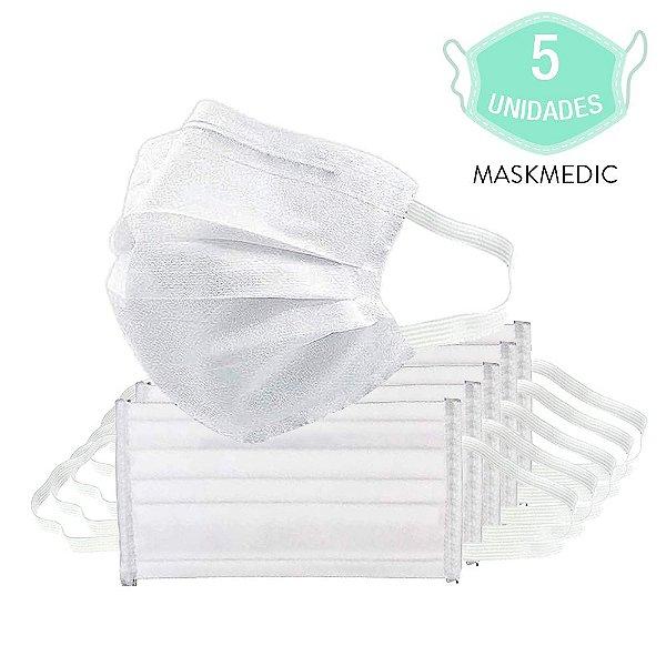 Pacote Com 5 Máscara Descartável Tripla Camada Máxima Proteção Nariz E Boca Com Elástico Clip Nasal MaskMedic