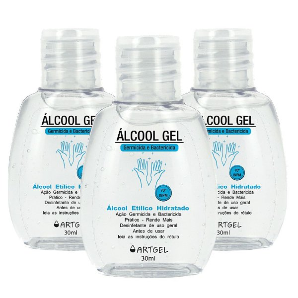 Pacote Com 3 Álcool Gel Etílico Hidratado 70 Inpm Germicida E Bactericida Higiene Pessoal 30ml ArtGel