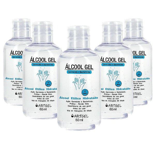 Kit 5 Álcool Gel Higienizador De Mãos ArtGel 70 INPM 60ml