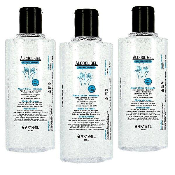 Pacote Com 3 Álcool Gel Etílico Hidratado 70 Inpm Germicida E Bactericida Higiene Pessoal 200ml ArtGel