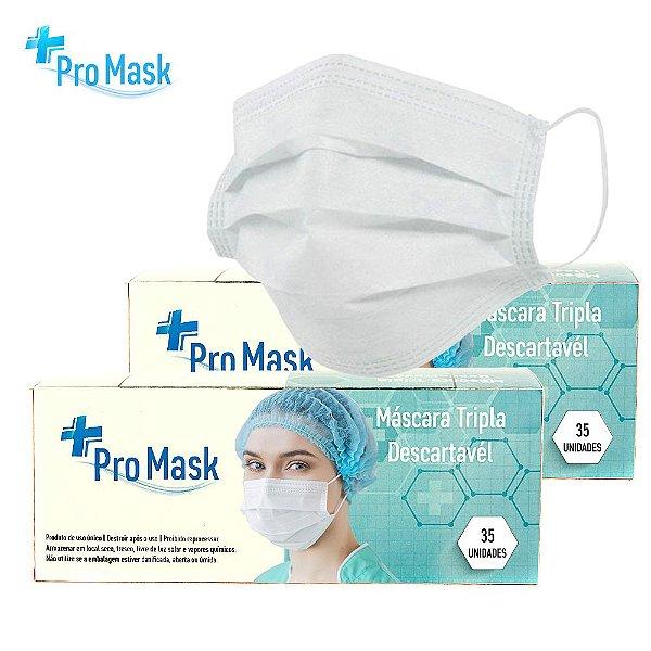 Promoção Kit 2 Caixas Com 35 Máscara Descartável Ótima Qualidade Com Clipe Nasal Tripla Camada Pro Mask