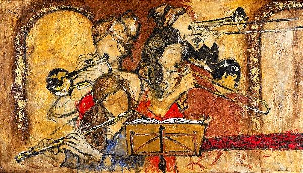 Arte Contemporânea Tela Classic Room Concert 45 x 80 cm