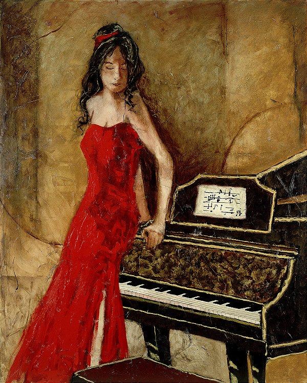 Arte Contemporânea Tela Gold Piano 80 x 60 cm