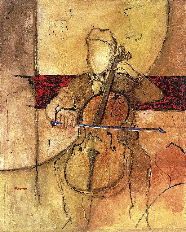 Arte Contemporânea Tela Great Cello 80 x 60 cm