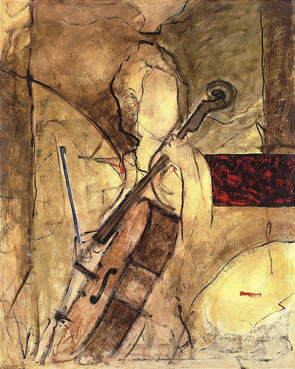 Arte Contemporânea Tela Old Cello 80 x 60 cm