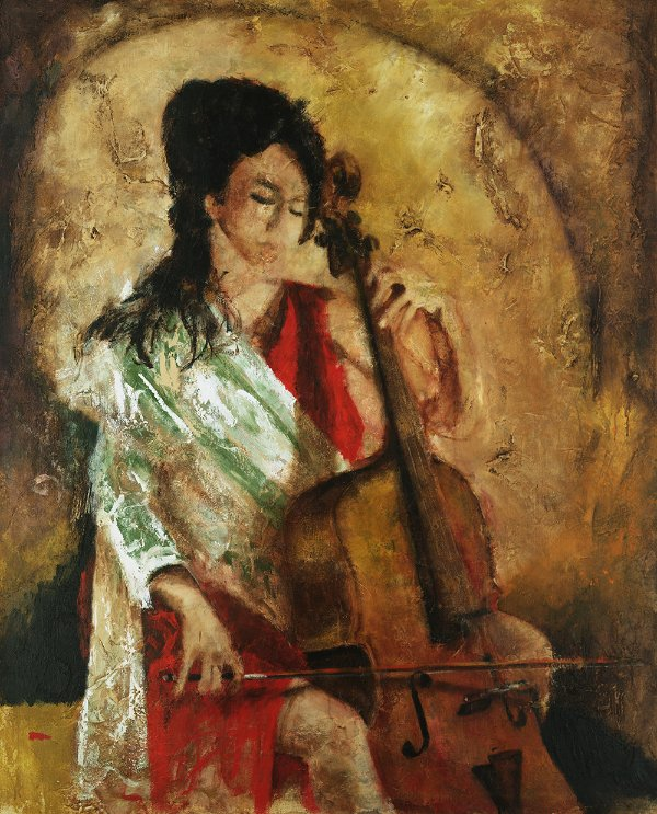 Arte Contemporânea Tela Praise w strings 80 x 60 cm