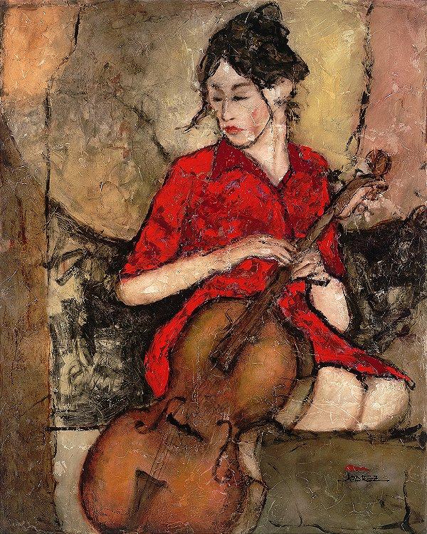Arte Contemporânea Tela Red Dress 80 x 60 cm