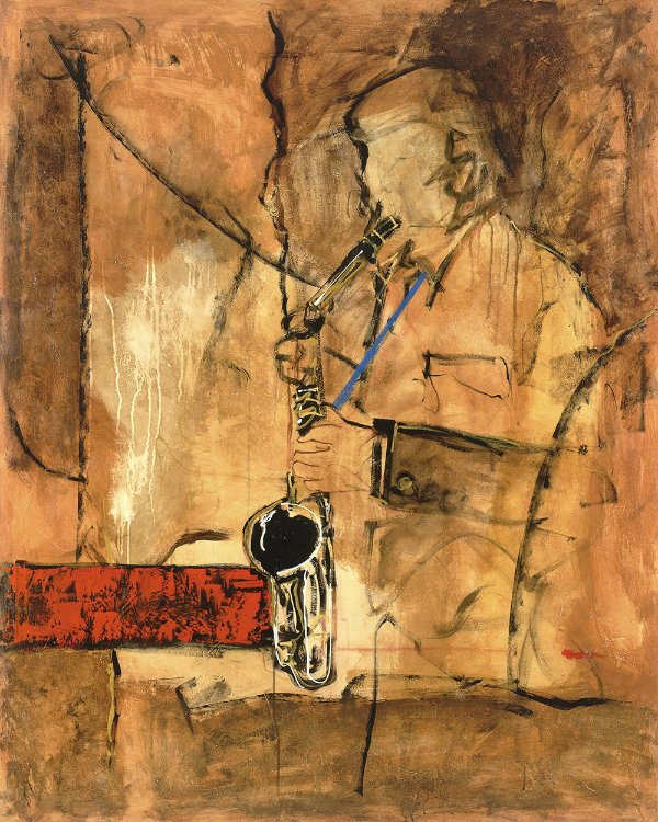 Arte Contemporânea Tela Saxofonist 80 x 60 cm