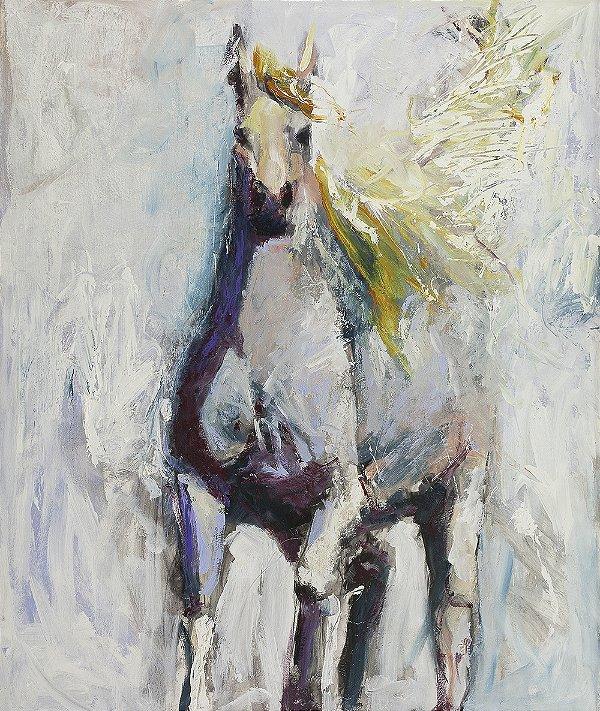 Arte Contemporânea Tela Silver Horse 80 x 60 cm