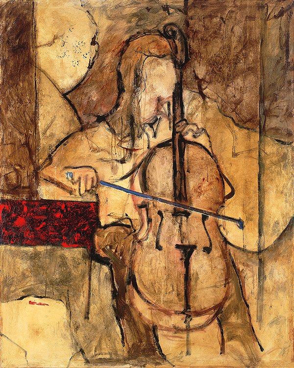 Arte Contemporânea Tela Soft Cello 80 x 60 cm