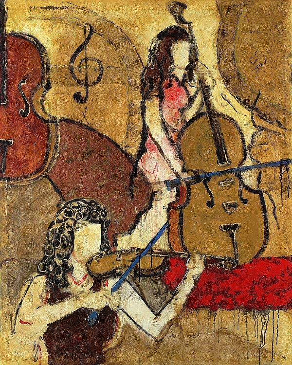 Arte Contemporânea Tela Two Friends 80 x 60 cm