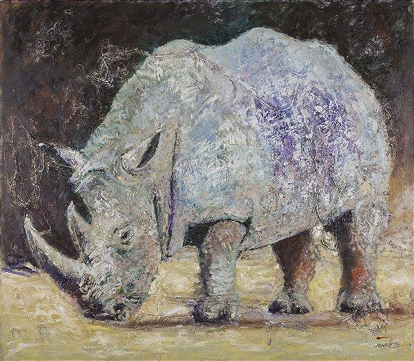 Arte Contemporânea Tela White Rhino 60 x 80 cm