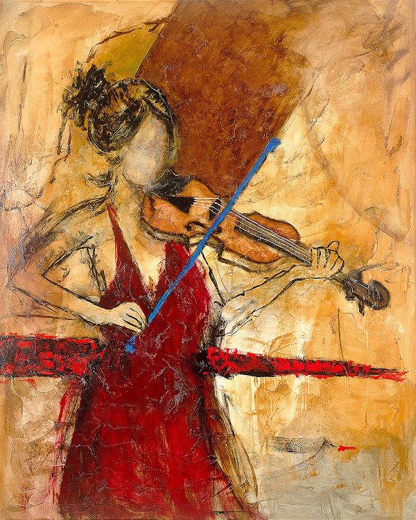 Obra de Arte Tela First Viola 150 x 120 cm