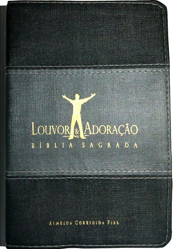 Bíblia Louvor e Adoração Capa Luxo Preta e Cinza
