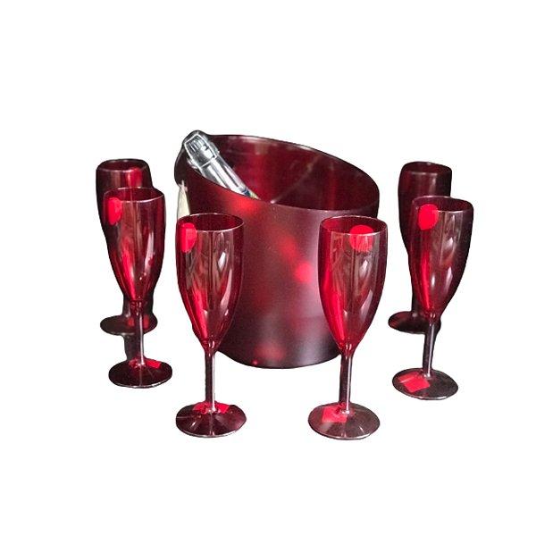 Conj. Balde de Gelo e 6 taças de Champanhe - Vermelho