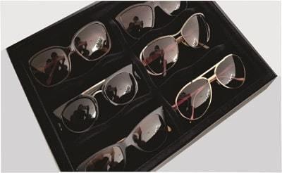 Porta Óculos para 6 Unidades em Veludo Preto