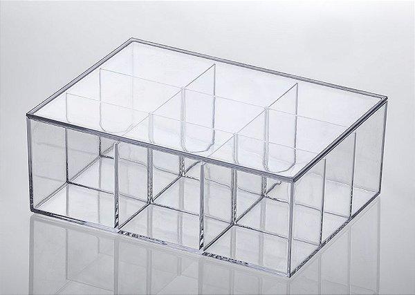 Caixa Acrílica com Divisórias e Tampa  22,5x16,5x8,5cm - Elegance