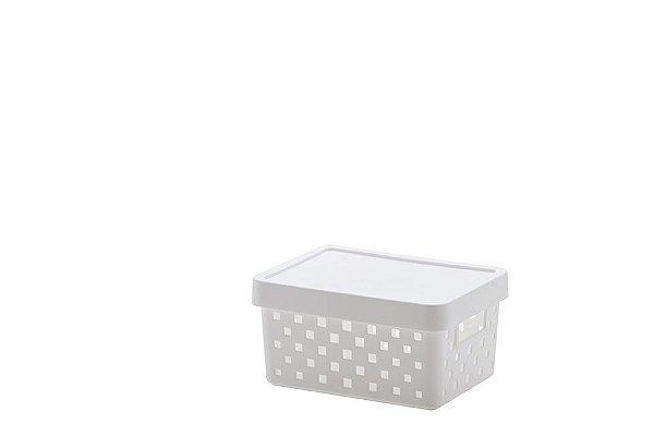 Cesto Organizador com Tampa Quadratta Mini - Branco