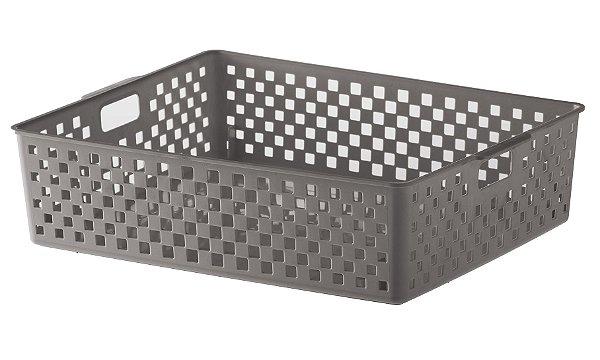 Cesto Organizador Quadratta 34x27x9cm - Cinza