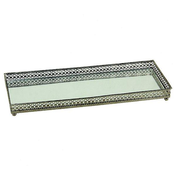 Bandeja de Ferro Espelhada - 30x11,5x3 cm