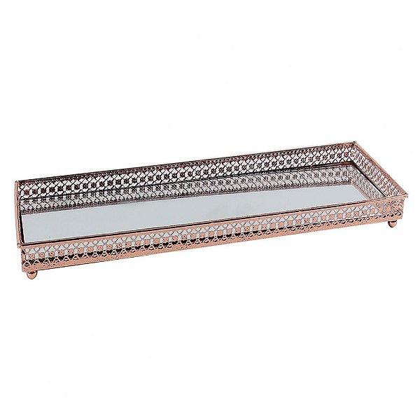 Bandeja Espelhada de Metal Cobre 30x11,5x3,1 cm