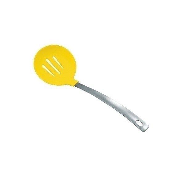 Escumadeira de Silicone Redonda Amarela