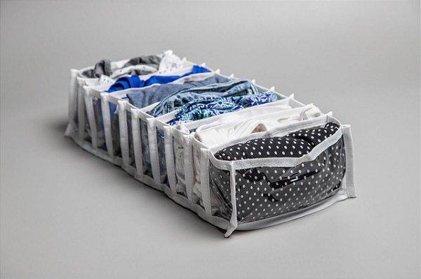Colmeia Organizadora de Plástico com Viés de Gorgurão Branco - M