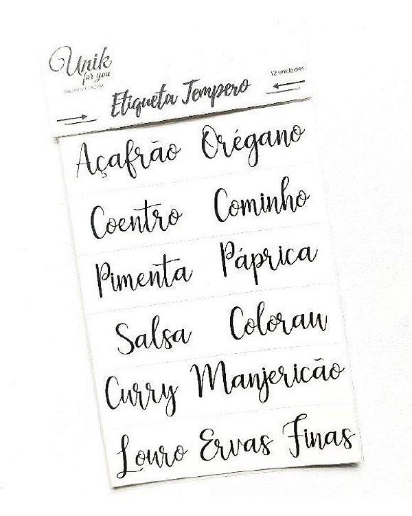 Kit Etiqueta Tempero Pequena - Caligrafia