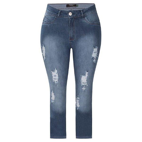 Calça Jeans Plus Size Feminina Cigarrete Destroyed