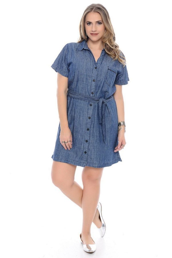 d54da4315 Vestidos Jeans Plus Size com Detalhes - Roupa Plus Size Feminina ...