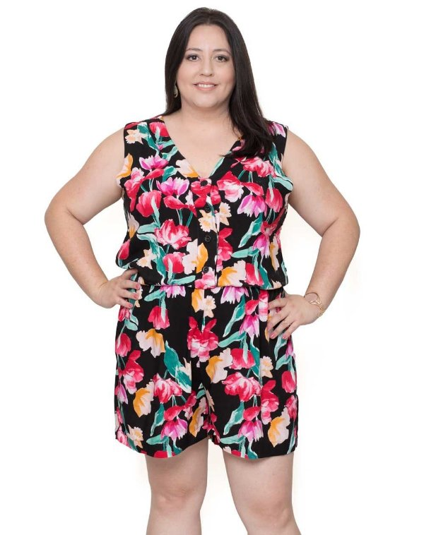 8217d39dcf Macaquinho Plus Size Floral Preto - Roupa Plus Size Feminina ...