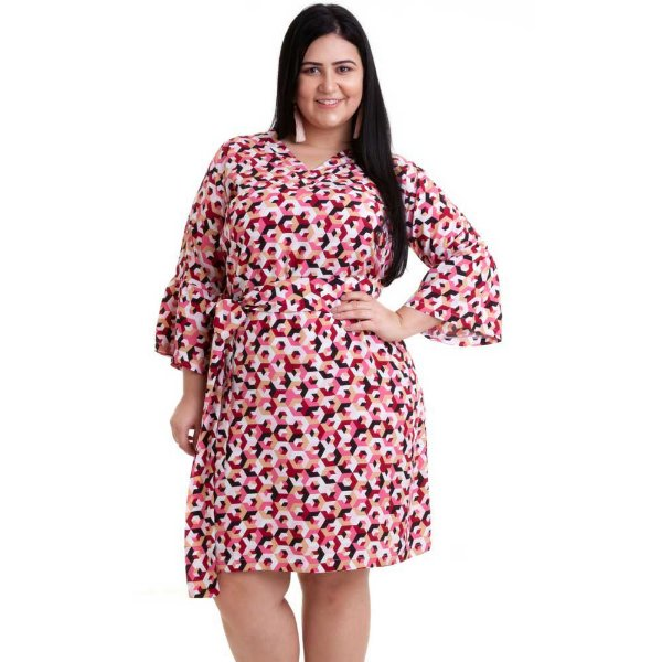 Vestido Pradiva Plus Size Geometrico