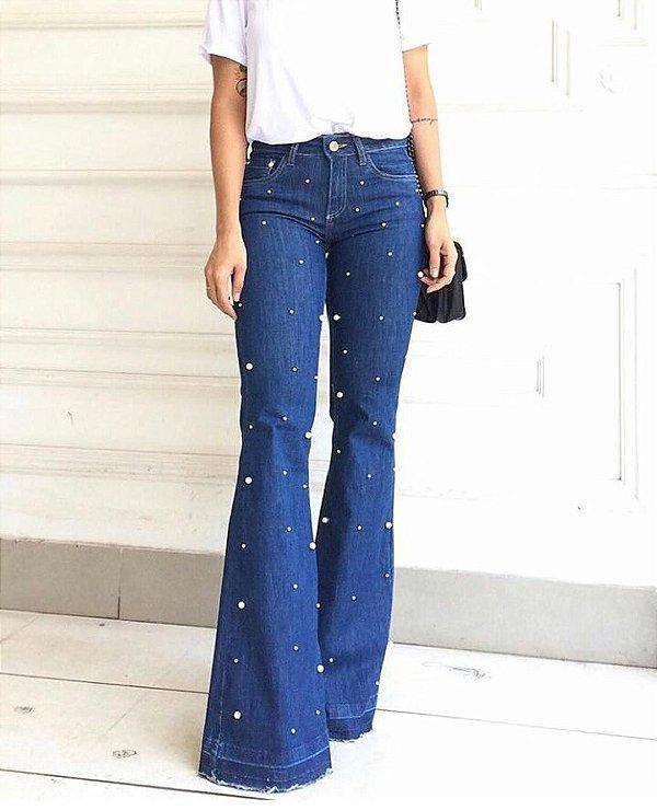 Calça Jeans Flare Pérolas